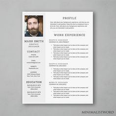 Professional Resume Template For Word  Diy Printable  Modern And