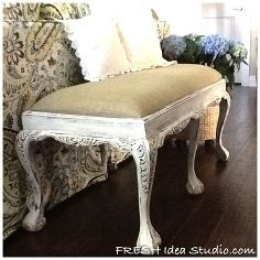 Looks like fine woven burlap so it wouldn't be scratchy. I like it!   fresh clean slipcovers amp a sexy claw foot burlap bench, furniture furniture revivals, Sexy Claw foot Bench AFTER some DIY Paris paint and ...