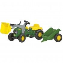 John Deere Ride on Pedal Tractor with Loader and Trailer. Covered integral chain drive with adjustable pedal crank. Pedal tractor suitable for children from approx. 2 to 5 years of age. John Deere Kids Tractor, Tractors For Kids, Kids Garden Toys, Hauling Trailers, Pedal Tractor, Kids Ride On Toys, Chain Drive, Shops, Sports Toys