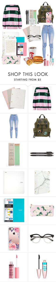 """""""Back to school"""" by ivevaomi on Polyvore featuring StudioSarah, Ashish, Burberry, Paper Mate, russell+hazel, Five Star, Mead, ban.do, Casetify and Charlotte Russe"""