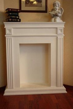 : Fireplaces made of cardboard. Cardboard Furniture, Diy Furniture, Faux Fireplace Mantels, Fireplaces, Mantles, Wall Colors, Office Decor, Decoration, Christmas Diy