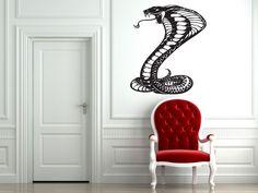 Cobra Snake Sticker Wall Vinyl Snake Venom Predator Mural Decal Decor Gift #259 #HomeOfStickers