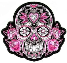 Black, white, and pink sugar skull