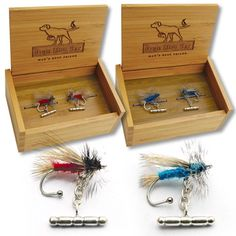 Fish Fly Cuff Links by Bird Dog Bay... Gotta get these for Andrew!