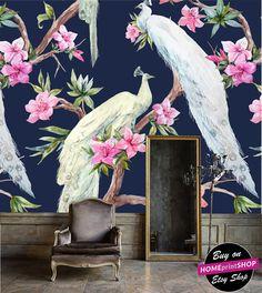 Wonderful watercolor vintage floral and peacock wallpaper