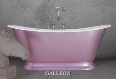 Hand gilded in faux pink silver leaf. #bathtubs #baths #bathrooms #luxurybathrooms #bespoke baths #interiordesign #bathroomdesign #gilding #copperleaf #goldleaf #luxurybathrooms Cast Iron Bath, Copper Bath, Roll Top Bath, Leather Roll, Steel Wool, Bathroom Interior Design, Baths, It Cast, Traditional
