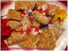 Homemade Sesame Bar (greek Pasteli ) With Honey, Sesame Greek Recipes, My Recipes, Snack Recipes, Dessert Recipes, Snacks, Honey Dessert, Health Bar, English Food, English Recipes