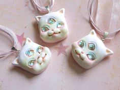 mystic kitten necklace  kawaii pastel creepy cute creepy kei pastel goth fachin cat necklace accessories jewelry under30 etsy