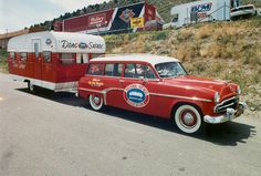 National Hot Rod Association vintage station wagon and trailer. YAY!