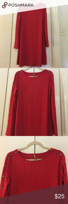 Size 4 Red Rachel Pally dress New! Never worn-- beautiful red cotton/spandex Rachel Pally dress-- round neck-- long sleeve with brushed gold large button details-- dress does not wrinkle so perfect for travel.  34 inches long from back of neck to hem. There is a lot of stretch in this dress. Super cute to thrown on! Rachel Pally Dresses