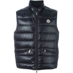 Moncler Gui Waistcoat ($385) ❤ liked on Polyvore featuring men's fashion, men's clothing, men's outerwear, men's vests and navy