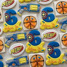 It's a nerf party! I finally invested in a pico projector and just in time. It made making these nerf logo cookies much faster. Can't wait… Nerf Birthday Party, Nerf Party, 10th Birthday Parties, Birthday Party Decorations, Birthday Ideas, Business Marketing, Email Marketing, Content Marketing, Internet Marketing