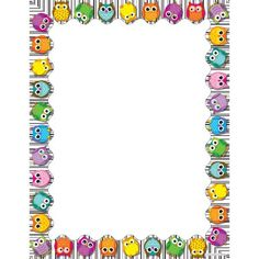 Use this whimsical, delightful Colorful Owls design to promote your classroom theme! So many uses to liven up projects, writing assignments, class new. Borders For Paper, Borders And Frames, Free Cliparts, Owl Theme Classroom, Computer Paper, Page Borders, Writing Assignments, Owl Crafts, Binder Covers
