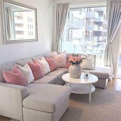 Wohnzimmer in Grau, Rosa und Pink einrichten. | Wohnen | Wohnzimmer ...