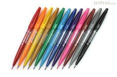 Pentel Fude Touch Brush Sign Pen - 12 Color Bundle - JETPENS PENTEL SES15C BUNDLE