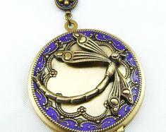 Vintage libellule résine médaillon, médaillon de Photo de Style Art déco, cadeau de la Saint-Valentin, mariage en laiton photo médaillon