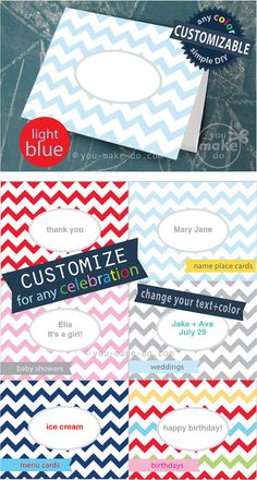 INSTANT DOWNLOAD CUSTOMIZABLE PLACE CARD PRINTABLES available in any color! Chevron party printables to make light blue chevron place cards! Use these chevron party printables for birthday parties, baby showers, wedding place cards, table number cards, wedding showers, and thank you cards. Add names, dates, messages, and menu items to these customizable party printables. Easy DIY customization—Simple instructions included to change your font, text size, and text to any color. | you make do®…
