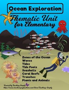 Explore the ocean with this thematic unit. Start with vocabulary instruction, venture into the reading passages about everything from the coral reefs to the trenches, and enjoy the many activities included in this resource! Coral Reef Pictures, Puzzles And Answers, Writing Poetry, Writing Prompts, Ocean Lesson Plans, Ocean Zones, Ocean Projects, Art Projects, Vocabulary Instruction