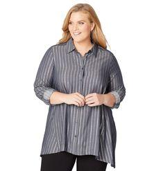 2738ecfb03c7b Fashion Bug Plus Size Women s Silver Stripe Button Front Shirt