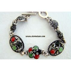 Bracelet Tibetan Unisex with Green, Black, and Maroon Mineral Stone Beads and Oxidized Turkmen Silver Metal - Fashion Jewellery for Men and Women