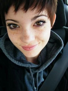 My crush no.3 beautly girl with short hair and freckles