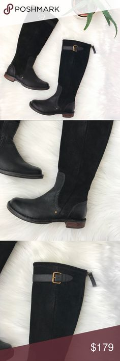 """UGG 'Castille' Boot Tall Black Leather Riding Boot UGG Women's Size 5.5 Australia 'Castille' Boot Tall Black Leather Riding Boots  Overall condition is good: Do have general signs of wear. Heel of right foot has some wear. Some minor scuffs on suede - can be treated.  Suede and leather upper/leather, textile and genuine shearling lining/leather and rubber sole.  Approximately: 15"""" Tall 1"""" Heel 14"""" Circumference of shaft 10"""" Foot bed 3"""" Ball of food width 2.5"""" Width of heel UGG Shoes Winter…"""