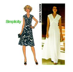 Empire Waist Dress Pattern Simplicity 7538 Bust 36 1970s Womens Vintage Sewing Pattern Summer Day or Evening Dress Two Lengths UNCUT