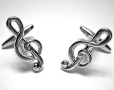Silver Treble Clef Music Cufflinks by mensjewel