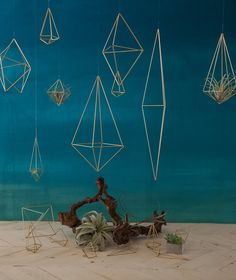 Brass geometric wedding decorations of different shapes and sizes