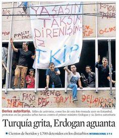 'Turquía grita, Erdogan aguanta' (La Vanguardia) / foto de portada 03.06.2013