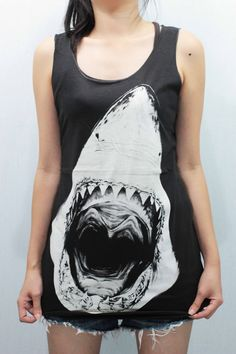 SHARK Attack Tank Top Black handmade silk screen by CafeTshirt, $15.99