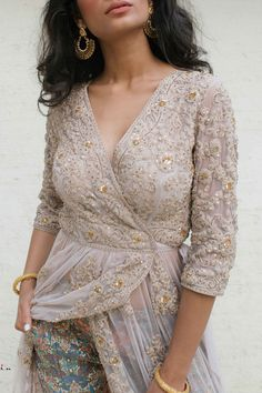 Shop VIVA-LUXE Designer Sapana Amin's Light Grey Net Wrap Dress with custom, made to measure tailoring for a perfect fit & satisfaction guarantee on EVERYTHING. Indian Suits, Punjabi Suits, Indian Wear, Red Wrap Dress, Latest Salwar Kameez, Indian Designer Wear, Blouse Designs, Stylish Outfits, Perfect Fit
