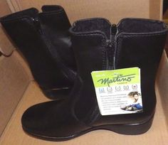 Martino Jessie Women's Size 7 M Lindsay Black Leather Winter Shoes  #Martino #AnkleBoots