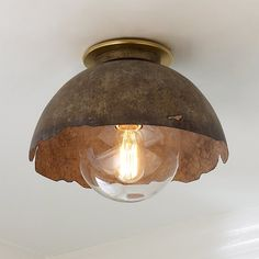 Young House Love Rough Edge Metal Ceiling Light Clear Seeded Glass Globe Pendant – Shades of Light Rustic Ceiling Light Fixtures, Ceiling Light Shades, Ceiling Light Design, Semi Flush Ceiling Lights, Flush Mount Ceiling, Flush Mount Lighting, Lighting Shades, Chandelier Shades, Young House Love