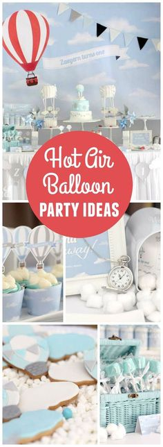 Love this wonderful hot air balloon party in white, blue, silver and red! See more party ideas at http://CatchMyParty.com!