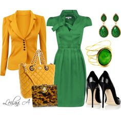 """Green with Yellow outfit"" by leilani-almazan on Polyvore"