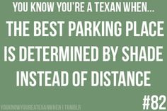 You know you're a Texan when. The best parking place is determined by shade instead of distance. Ain't it the truth? Texas Humor, Texas Funny, Texas Meme, Me Quotes, Funny Quotes, Funny Humor, Only In Texas, Texas Forever, Never Be Alone