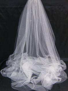Swarovski Crystal Rhinestone Sheer 108 Inch Long Cathedral Length Veil with Blusher
