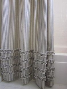 Vintage Ticking Stripe Shower Curtain with Ruffles Extra Long 72 x 96 - Modern Ruffle Shower Curtains, Grey Curtains, Bathroom Shower Curtains, Beachy Curtains, Shower Window, Swag Curtains, Room Window, Valance, Ticking Fabric
