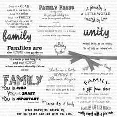 19 motivational quotes about family. Download these png quotes to use for creating cards, scrapbooking, planner stickers, etc.