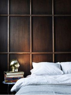 Dark stained wall panelling
