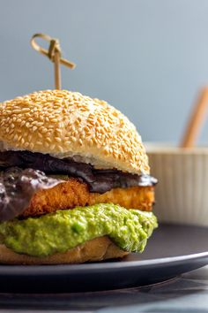 Crispy tofu burger with pea and caper mayo