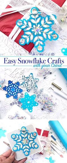 Easy Snowflake Crafts and SVG cut file by Jen Goode