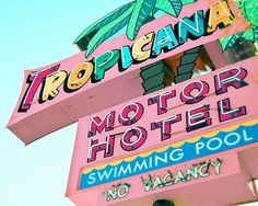 Vintage Hotel Sign Photography, Neon Road Sign, Tropicana Motel, Beach, Pastel,