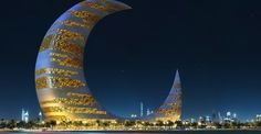 """the symbol of the Mesopotamian Moon gods Nanna in Sumer and Sin in Babylonia, Sin being the """"Lamp of Heaven and Earth"""".crescent tower of dubai"""