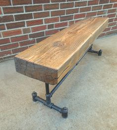 Gas Pipe Bench Reclaimed Beam