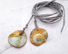 Artisan Ceramic Porcelain Bead Pendant  urchin fossil sunrise