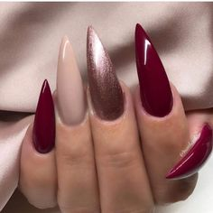 60 Amazing And Gorgeous Christmas Stiletto Nail Designs You Must Try For The Hol. , 60 Amazing And Gorgeous Christmas Stiletto Nail Designs You Must Try For The Holiday Season - Page 9 of 60 - Chic Hostess - - Red Christmas Nails, Christmas Nail Designs, Holiday Nails, Christmas Acrylic Nails, Christmas Christmas, Cute Nails, Pretty Nails, Dark Red Nails, Different Color Nails