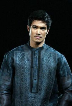 Barong Tagalog (traditional Filipino clothing for men) Barong Tagalog Wedding, Filipino Wedding, Filipiniana Dress, Filipino Fashion, Philippines Culture, Filipino Culture, Tropical Fashion, Bride And Groom Pictures, Wedding Suits