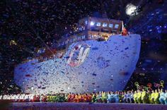 A huge icebreaker ship makes its way during the closing ceremony of the 2014 Winter Paralympics at the Fisht Olympic stadium in Sochi, Russia, Sunday, March 16, 2014.